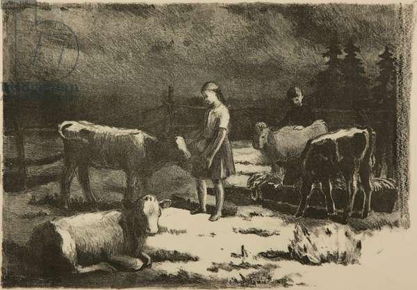 Feeding the Calves, 1950s (litho)