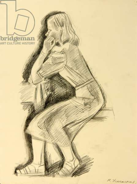 Portrait of Girl, 1972 (pencil on paper)