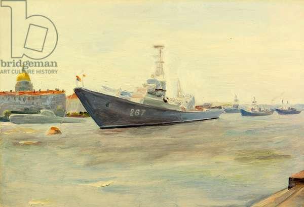 Destroyer on the Neva River in Leningrad, 1959 (oil on card)