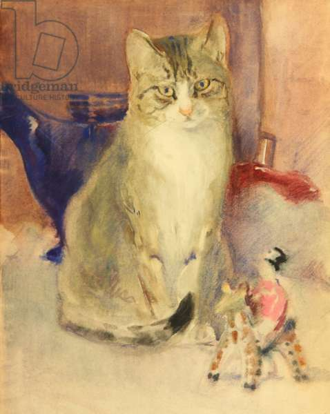 Cat with Toy, c.1940 (w/c on paper)