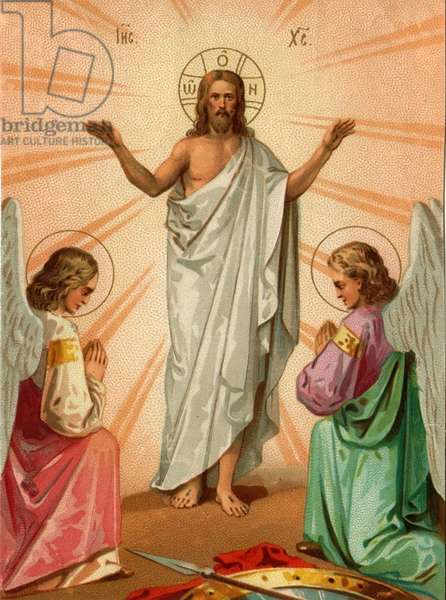 Jesus with angels, 1900s (colour litho)