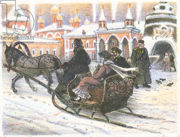 Winter at the Chudov Monastery in the Kremlin in the 1910s, 1980s (colour litho)