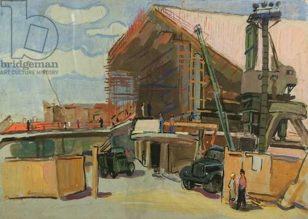 Building the Cinema Theatre 'Rossiya', Yerevan, 1976 (tempera on paper)