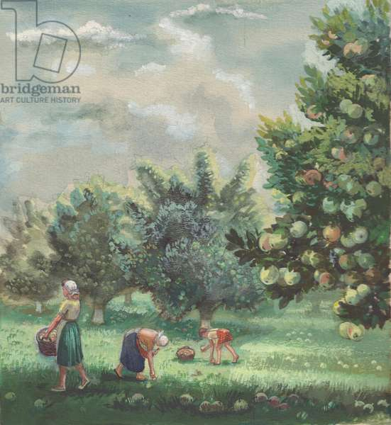 Apple Harvest, illustration for 'Summer in the Kolkhoz', 1950s (gouache on paper)