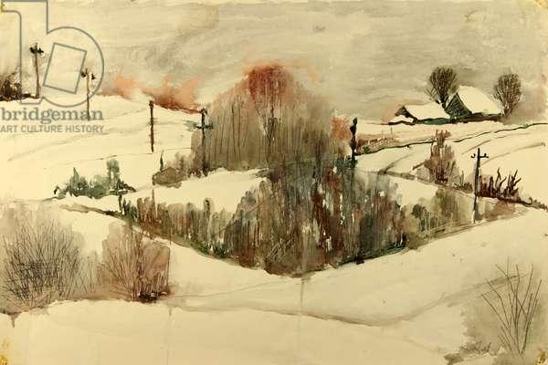 Russian Winter landscape, 1970 (gouache on paper)