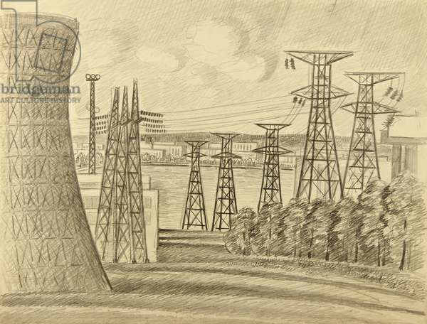 By the Novovoronezh Nuclear Plant, 1966 (pencil on paper)