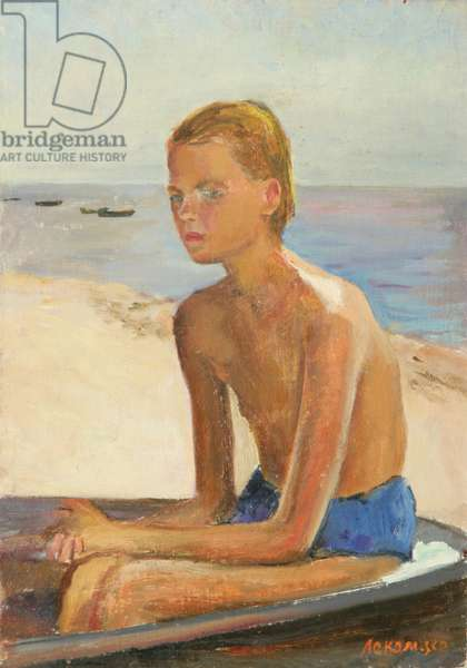 Young Girl on a Beach on the Baltic Sea, 1951 (oil on canvas)