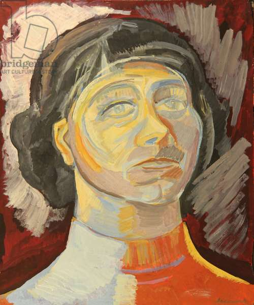 Portrait of Young Woman, 1970s (tempera on paper)