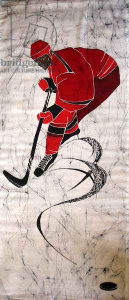 Ice Hockey, 2011 (hot batik on textile)