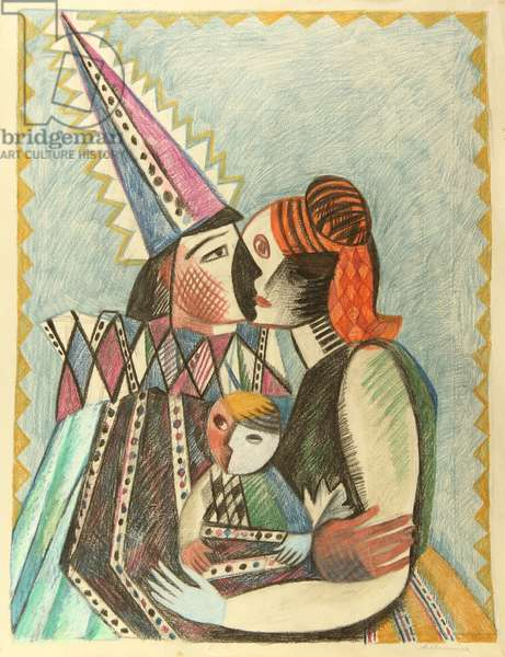 Colombina and Arlecchino (Harlequin) 1980 (pastel on paper)