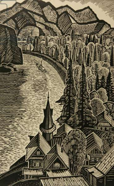 The Gusovaya River, 1964 (linocut)
