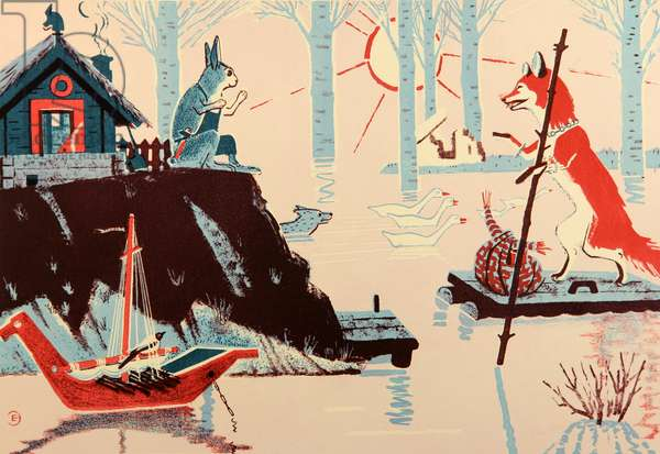The Hare and the Fox, 1962 (colour litho)