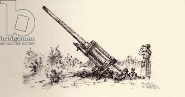 Antiaircraft Gun, 1942 (indian ink on paper)
