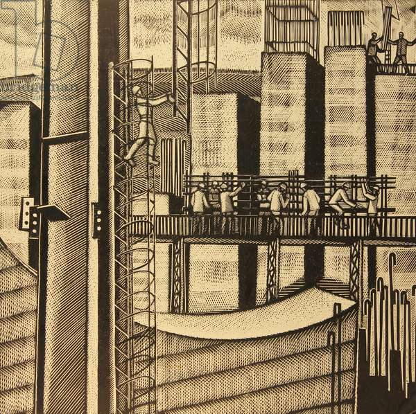 Foundations at the Cement Factory, 1976 (linocut)