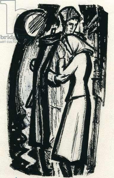 "Illustration from ""Unforgettable Days"", Mikhail Lynkov, 1968 (gouache on paper)"