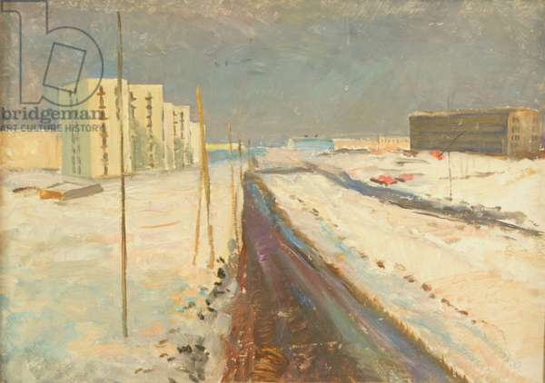 New Urban District - Moscow is Being Built, 1960s (oil on card)