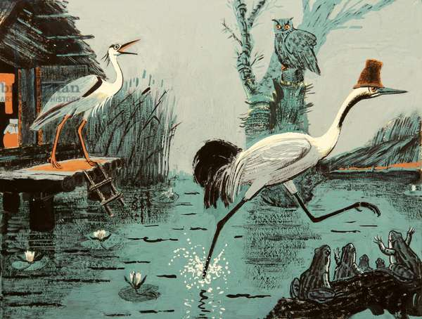The Crane and the Heron, 1959 (gouache on paper)