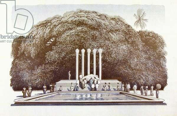 The Mausoleum of Solomon Bandaranaike, 1962 (linocut)