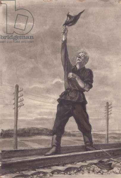 Train Guard, 1952 (w/c on paper)