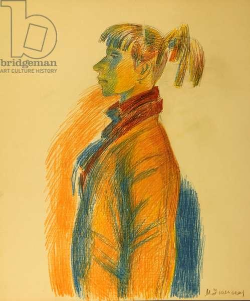 Portrait of young Woman, 1984 (colour pencil on paper)