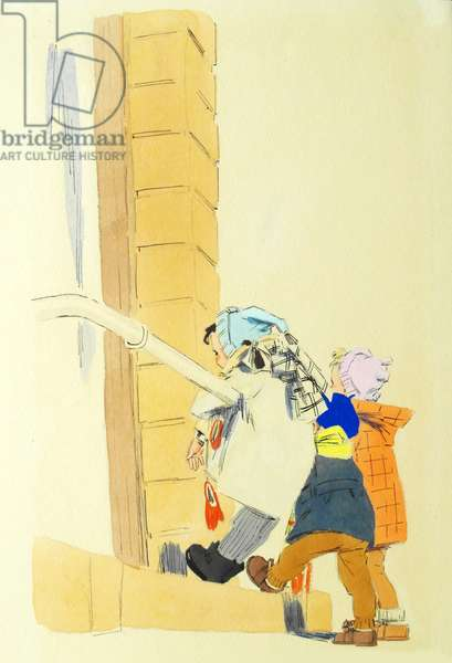 """Illustration from ''The Children's Bus"""" by Zinaida Aleksandrova, 1957 (watercolour on paper)"""