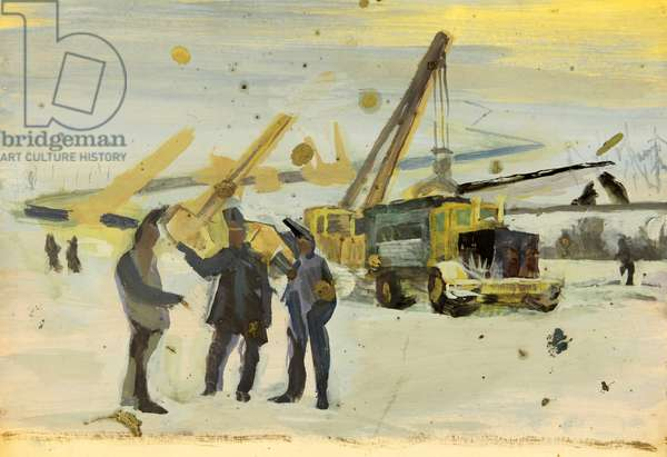 Laying the Gas Pipes, 1977 (oil on paper)