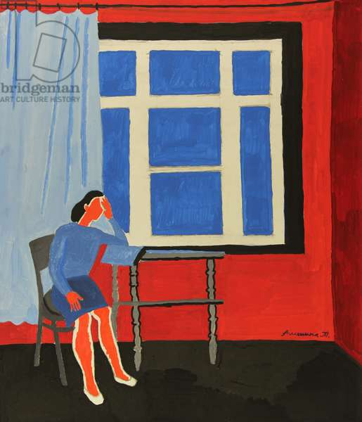 Woman by Blue Window, 1970s (tempera on paper)