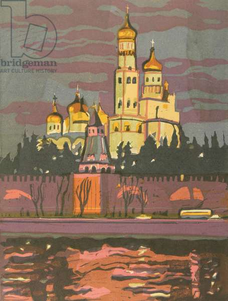 Novodeviche Monastery in Moscow, 1960s (colour litho)