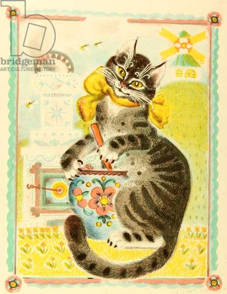 Cat, Book illustration, 1975 (colour litho)