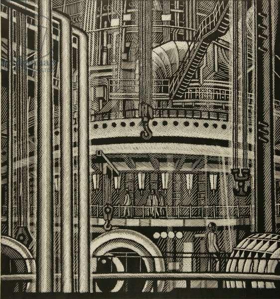 Novolipetsk Metallurgical Plant, 1976 (linocut)
