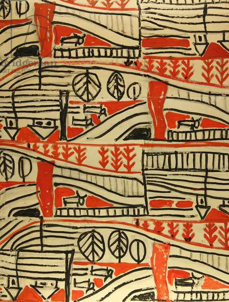 Textile Design, 1958 (tempera on paper)
