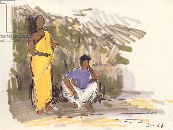 Street Scene in Sri Lanka, 1960 (tempera on paper)
