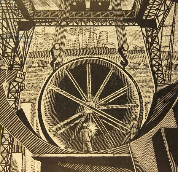 Installing the Rotating Cement Blender, 1979 (linocut)