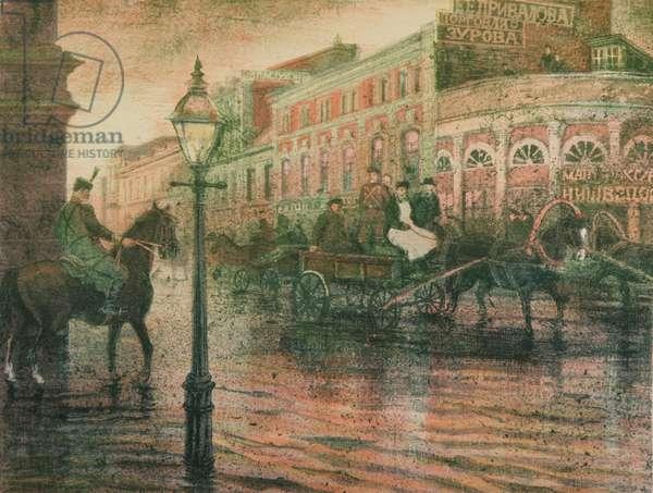 The Flood on Dorogomilovo in 1908, 2008 (colour litho)