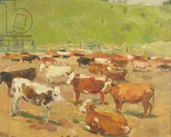 Calves in the Pen, Altai, near Mongolia, 1938 (oil on canvas)