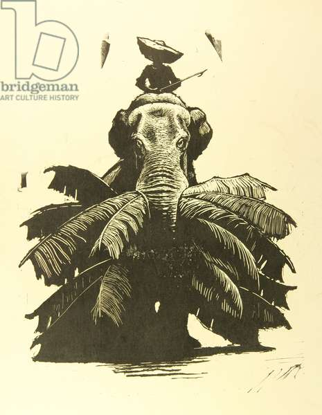 Working Elephant, 1962 (linocut)