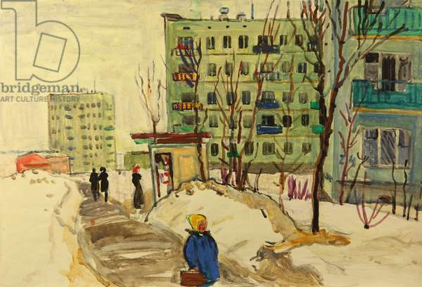 New District in Moscow, 1960s (tempera on paper)