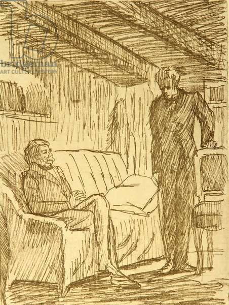 Arkady and Versilov, illustration to Fyodor Dostoyevsky's novel 'The Adolescent' (1875), 1971 (etching)