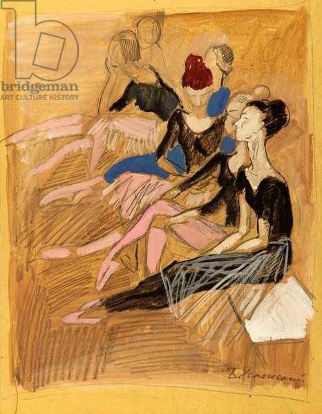 Ballerinas Resting During Rehearsals, 1966 (tempera on paper)