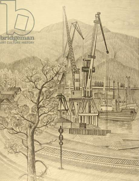 Harbour on the Baikal Lake, 1986 (pencil on paper)