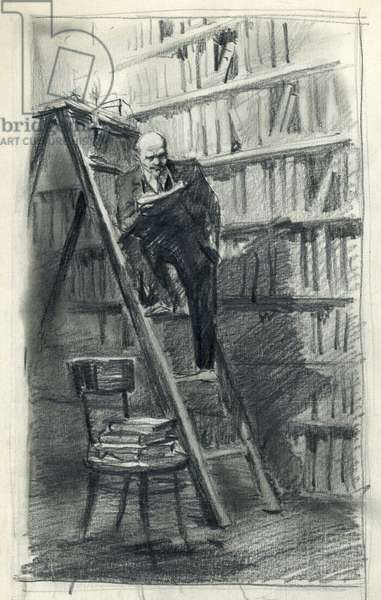 Lenin in the Library, c.1960s (pencil on paper)