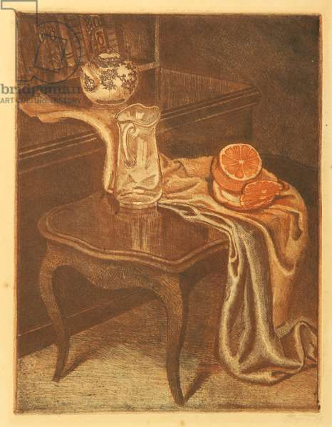 Still Life with Orange, 1983 (colour etching)