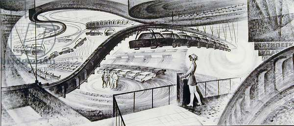 The Main Assembly Line, 1974 (indian ink on paper)