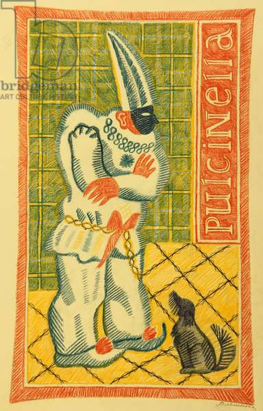 Pulcinella, 1980 (pastel on paper)