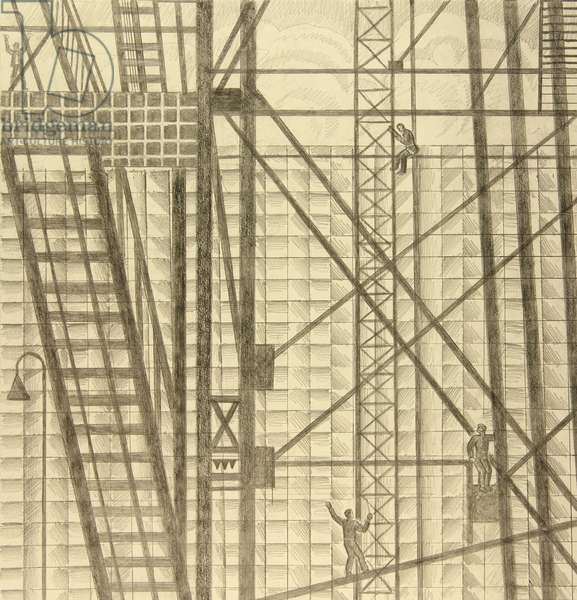 Installation of Metal Constructions, 1976 (pencil on paper)