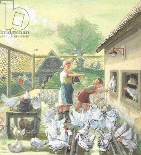 Chicken Farm, illustration for 'Summer at the Kolkhoz', 1950s (gouache on paper)