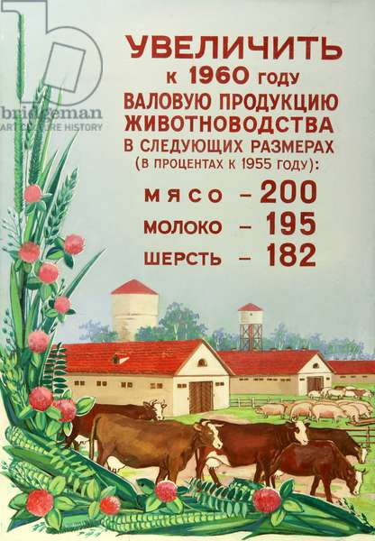 Let Us Grow the Production of Meat, Milk and Wool to the Year 1960 in the Following Scale (as a percentage of 1955): Meat 200%, Milk 195%, Wool 182%, 1960 (gouache on paper)