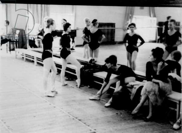 Dancers at rehearsal, Bolshoi Theatre, Moscow, 1970s (b/w photo)