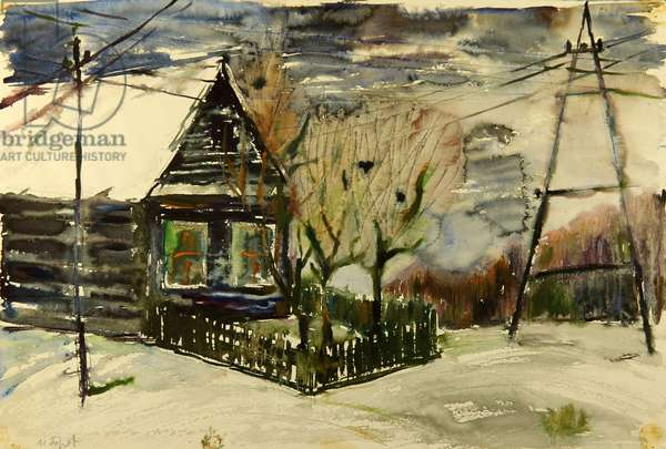 Russian Village House in Winter Night, 1970 (gouache on paper)