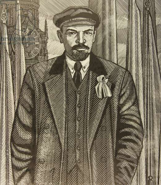 Lenin at the Kremlin, 1970 (linocut)